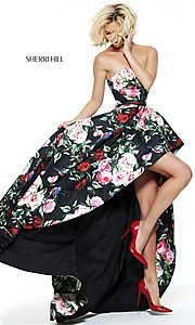 Image of black high-low prom dress with multi-color print.  Style: SH-50963 Detail Image 2