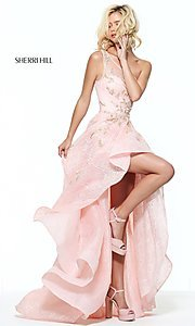 One Shoulder Lace Sherri Hill Prom Dress