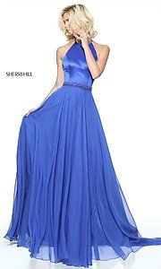 Long Sherri Hill High-Neck Halter Prom Dress