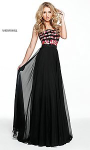 Image of embroidered-bodice long prom dress by Sherri Hill. Style: SH-50984 Detail Image 3
