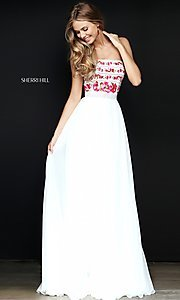 Embroidered-Bodice Long Prom Dress by Sherri Hill