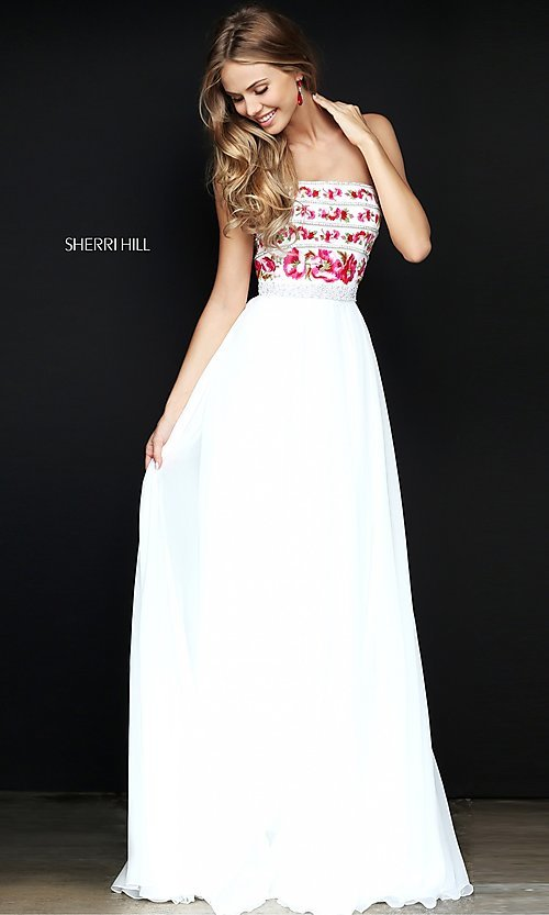 Image of embroidered-bodice long prom dress by Sherri Hill. Style: SH-50984 Front Image