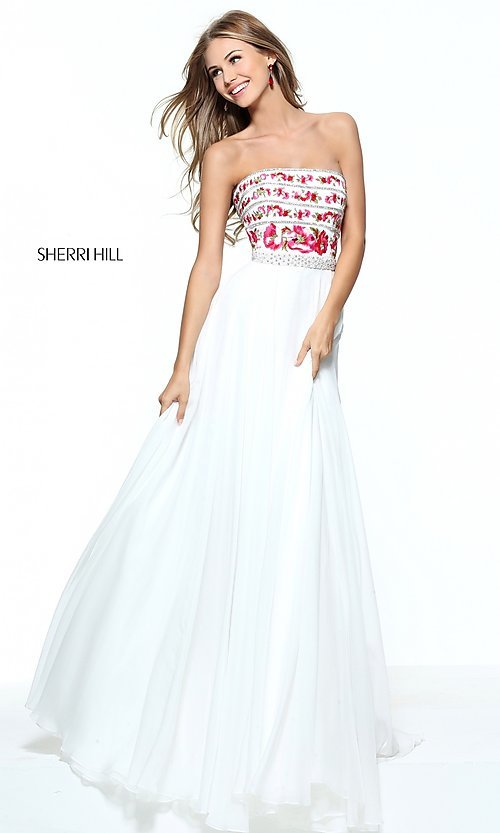 Image of embroidered-bodice long prom dress by Sherri Hill. Style: SH-50984 Detail Image 1