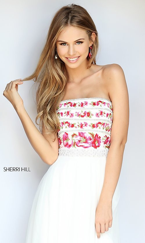 Image of embroidered-bodice long prom dress by Sherri Hill. Style: SH-50984 Detail Image 2