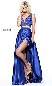Image of long two-piece v-neck Sherri Hill prom dress.  Style: SH-50993 Front Image