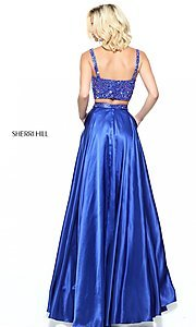 Image of long two-piece v-neck Sherri Hill prom dress.  Style: SH-50993 Back Image