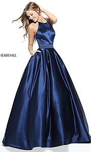 Long Sherri Hill A-Line Halter Prom Dress