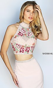Image of Sherri Hill embroidered two-piece long prom dress. Style: SH-51059 Detail Image 3