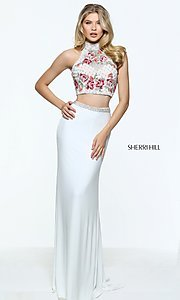 Long Two Piece Sleeveless Sherri Hill Prom Dress