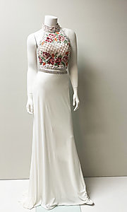 Image of high-neck embroidered two-piece long prom dress. Style: SH-51059 Front Image