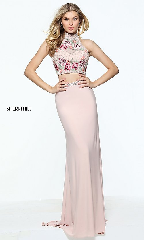 Image of Sherri Hill embroidered two-piece long prom dress. Style: SH-51059 Detail Image 2