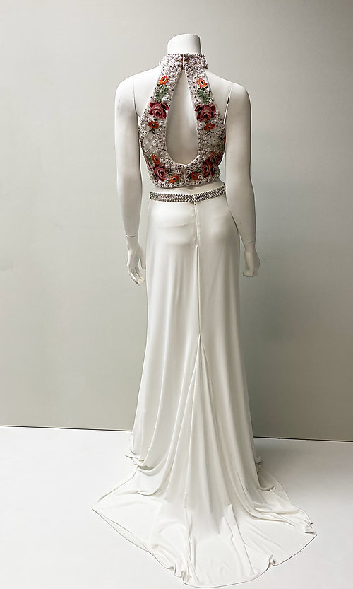 Image of high-neck embroidered two-piece long prom dress. Style: SH-51059 Back Image