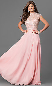 Long Open Back Prom Dress with Cap Sleeves