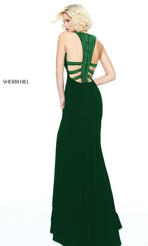 Image of long open-back formal evening dress by Sherri Hill. Style: SH-51090 Detail Image 2