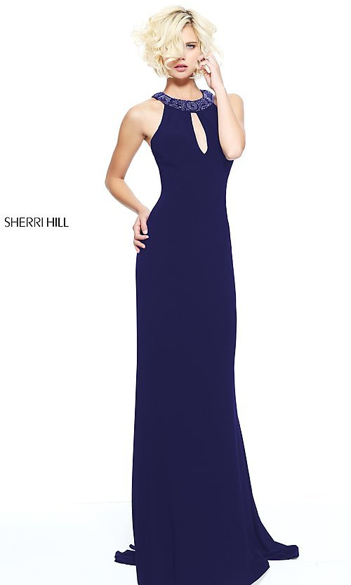 Image of long open-back formal evening dress by Sherri Hill. Style: SH-51090 Detail Image 1