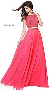 Image of long embellished two-piece Sherri Hill prom dress. Style: SH-51091 Detail Image 3