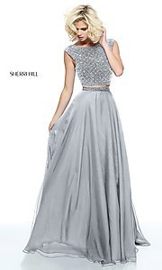 Image of long embellished two-piece Sherri Hill prom dress. Style: SH-51091 Detail Image 2