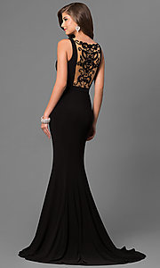 Image of Sherri Hill prom dress with beaded illusion back. Style: SH-51096 Back Image
