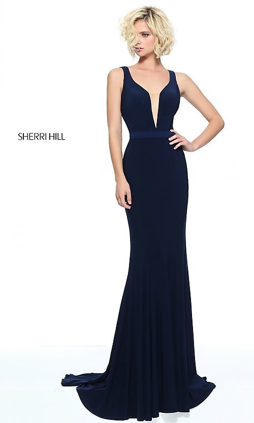 Image of Sherri Hill prom dress with beaded illusion back. Style: SH-51096 Front Image