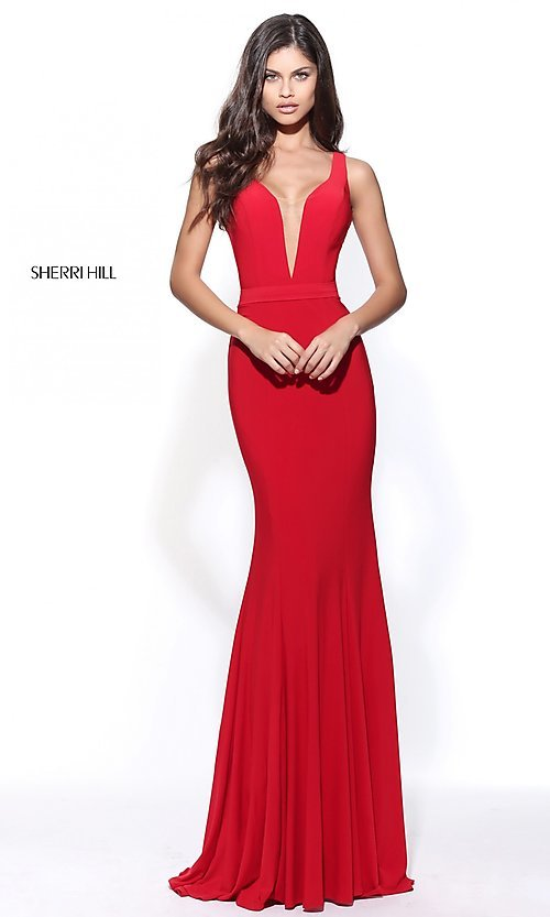 Image of Sherri Hill prom dress with beaded illusion back. Style: SH-51096 Detail Image 2