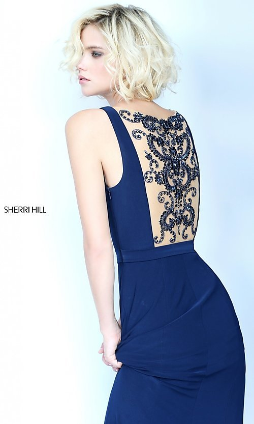 Image of Sherri Hill prom dress with beaded illusion back. Style: SH-51096 Detail Image 3