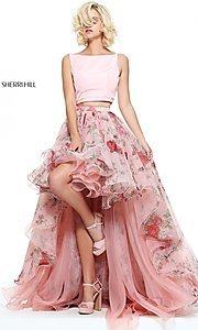 Two-Piece High-Low Print Prom Dress