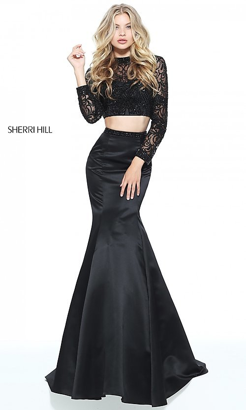 Two-Piece Long-Sleeve Mermaid Prom Dress
