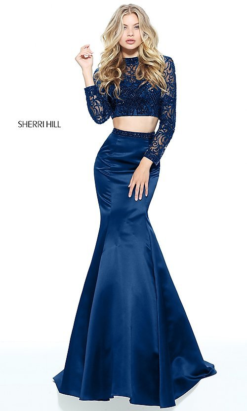 Image of mermaid two-piece long-sleeve prom dress. Style: SH-51107 Detail Image 2