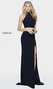 Sherri Hill Long High-Neck Prom Dress