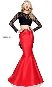 Two Piece Mermaid Prom Dress with Sleeves