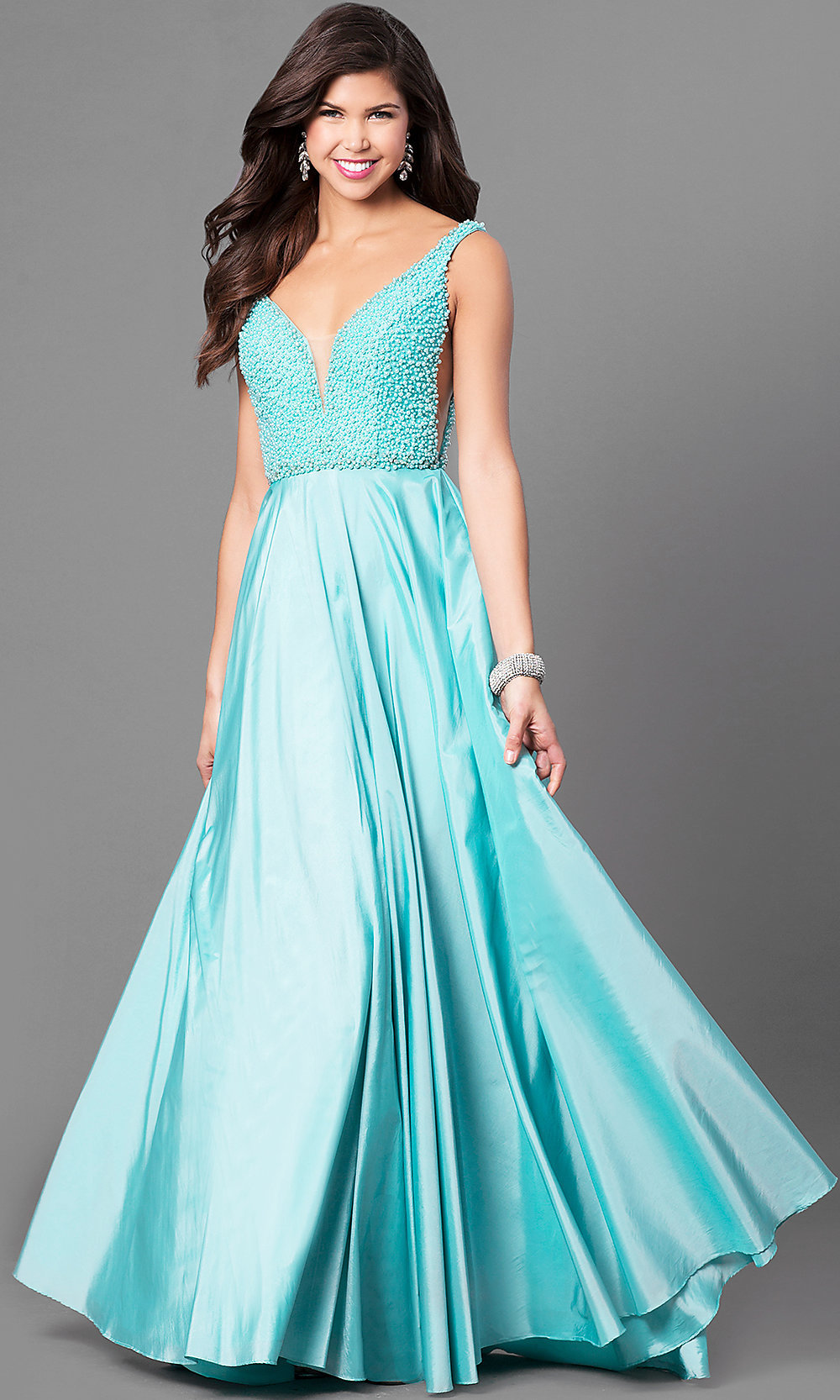 Long Open-Back V-Neck Sherri Hill Prom Dress -PromGirl