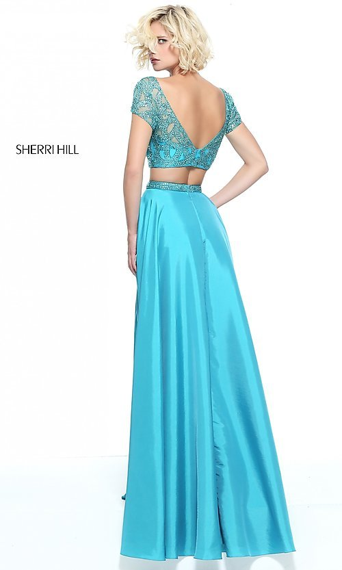 Image of short-sleeve two-piece Sherri Hill formal prom dress. Style: SH-51185 Back Image