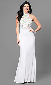 High-Neck Long Prom Dress with Beading