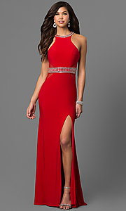 High-Neck Nina Canacci Prom Dress with Open Back