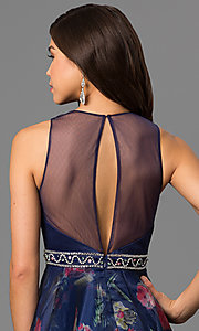 Image of long high-neck formal dress with floral-print skirt. Style: NC-1291 Detail Image 2
