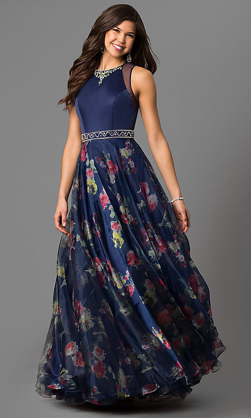 Image of long high-neck formal dress with floral-print skirt. Style: NC-1291 Front Image