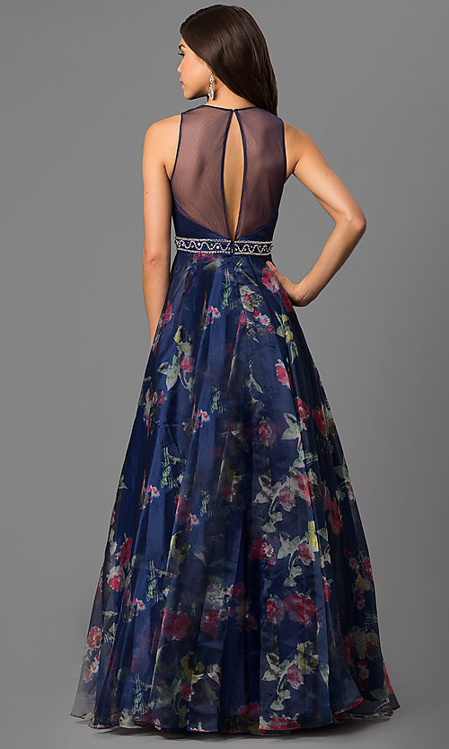 Image of long high-neck formal dress with floral-print skirt. Style: NC-1291 Back Image