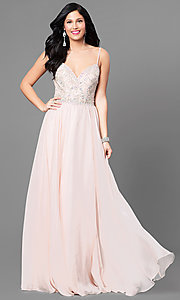 V-Neck Nina Canacci Long Chiffon Prom Dress