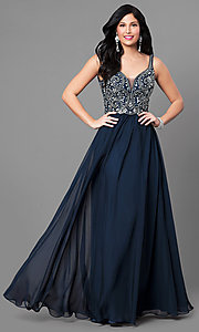 V-Neck Nina Canacci Long Prom Dress