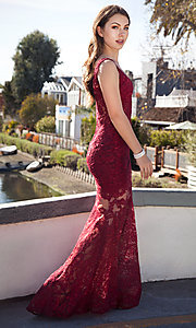 Image of Nina Canacci formal lace mermaid dress with train. Style: NC-7352 Front Image