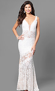 Image of Nina Canacci formal lace mermaid dress with train. Style: NC-7352 Detail Image 2