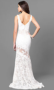 Image of Nina Canacci formal lace mermaid dress with train. Style: NC-7352 Back Image