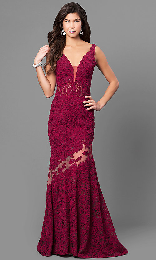 Image of Nina Canacci formal lace mermaid dress with train. Style: NC-7352 Detail Image 1