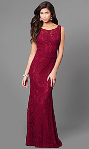 Long Red Lace Open Back Prom Dress