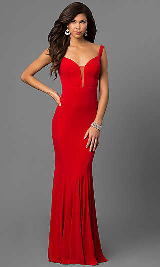 Long red form fitting dresses