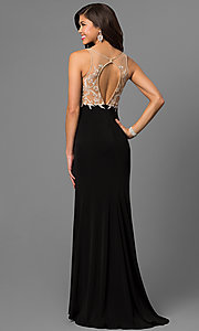 Image of v-neck prom dress by Nina Canacci with open back. Style: NC-7368 Back Image