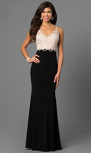 Embroidered Open-Back Bodice Long Prom Dress-PromGirl