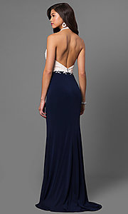 Image of long high-neck halter prom dress with lace bodice. Style: NC-7369 Back Image