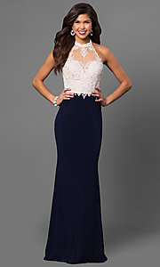 Image of long high-neck halter prom dress with lace bodice. Style: NC-7369 Detail Image 1