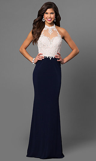 Long High-Neck Halter Prom Dress with Lace Bodice